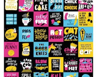British idioms print. Funny word art print.