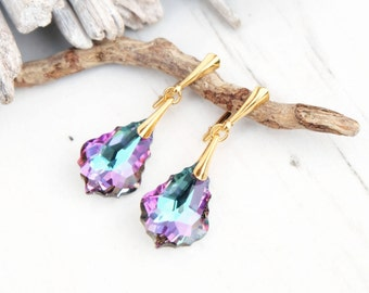 Purple Teal Swarovski Earring-Swarovski Crystal Jewellery-Dangle Drop Earring-Swarovski Baroque-24k Gold Plated Earring-Bridesmaids Gift
