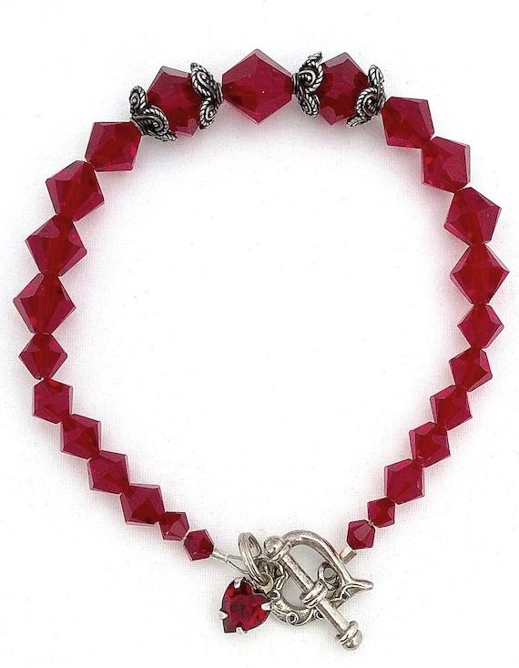Siam Swarovski Crystal Bracelet, Crystal Bracelet, Swarovski Crystal Bracelet, Red Crystal Bracelet