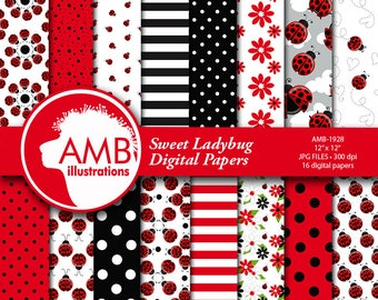 Ladybug digital papers, Red ladybug papers, Insects, Sweet ladybug papers, polkadot paper, ladybug scrapbook papers, comm-use, AMB-1928