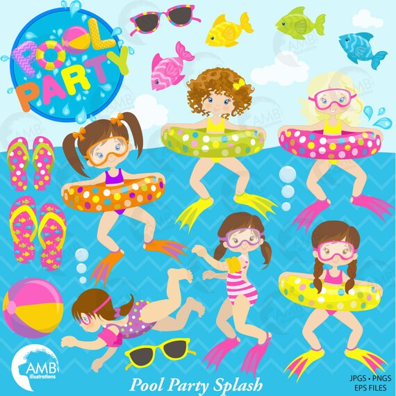 Girl Pool Party Clipart Beach Party Birthday Party Clipart