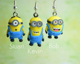 Despicable Me Inspired Minion Earrings Kevin Bob Stuart Mix and Match