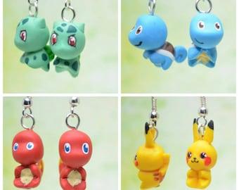 Pokemon Inspired 1st Gen Starters, Earrings OR Necklace