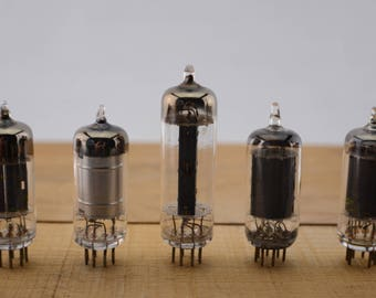 5 Vintage Vacuum Tubes - Electronic Parts Radio Tubes TV Tubes Amplifier Tubes Industrial Parts Collage Steampunk Art Supply E5-1