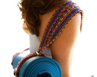 Yoga Mat Sling - Hand Appliquéd Ribbon in Multi Colors
