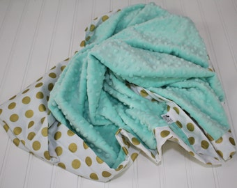 Personalized Minky Baby Blanket - Toddler Minky Blanket - Gold Dots - White and Gold Girl Blanket - Glitz Baby Blanket - Super Soft Minky