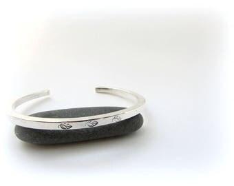 SALE: Sterling Silver Bracelet. Silver cuff bracelet. Cuff bracelet. Maine jewelry. Modern Silver Jewelry. Hammered silver. Silver Bracelet