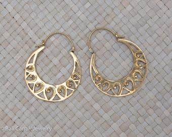 Sandia Brass Earrings, Tribal Brass Earrings, Large Hoop Earrings.