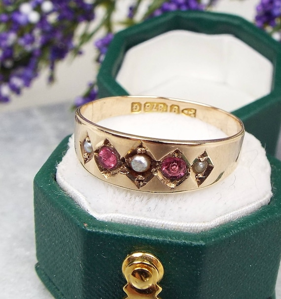 Antique Chester 1890 Victorian 9ct Gold Ruby and Seed Pearl Band Ring / Size N