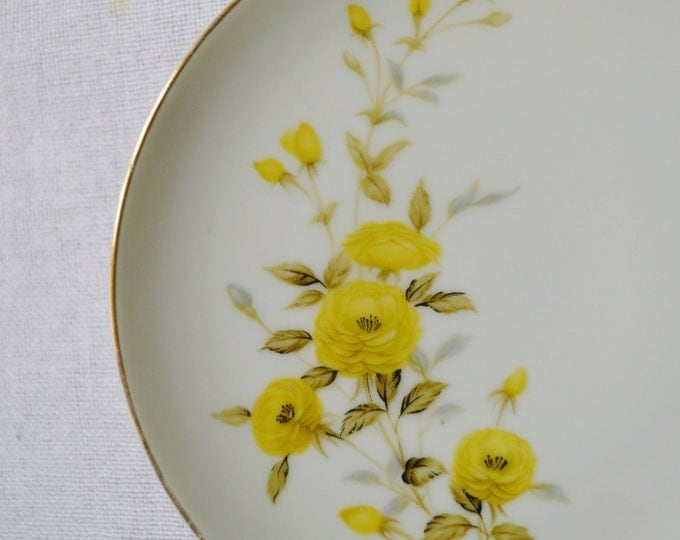 Vintage Sango Bread Dessert Plate Set of 3 Yellow Roses Sango Fine China Japan Replacement PanchosPorch
