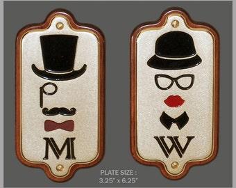 Solid Brass Engraved Art Deco Restroom Signs