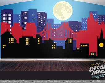 Superhero City Skyline   Gotham City Wall Decal City Skyline Decal, Moon Wall  Decal Part 55
