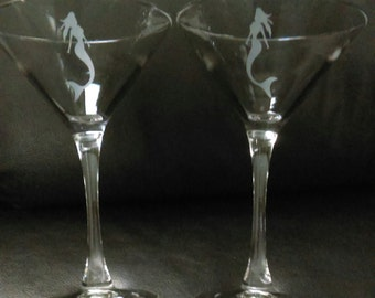 Etched Martini Glasses