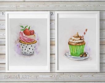 "Cupcake Watercolor Painting, Food Illustration, Original Watercolors, Cupcake Wall Art, Kitchen Wall Decor 8""x10"""