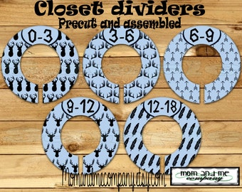 Custom closet dividers Clothes Dividers Size Dividers Rod Hangers Tribal dividers Blue and black Deer Baby Boy Dividers PRECUT Assembled