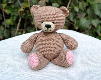 Crochet Teddy Bear, Amigurumi Bear, Crocheted Toy, Brown bear toy