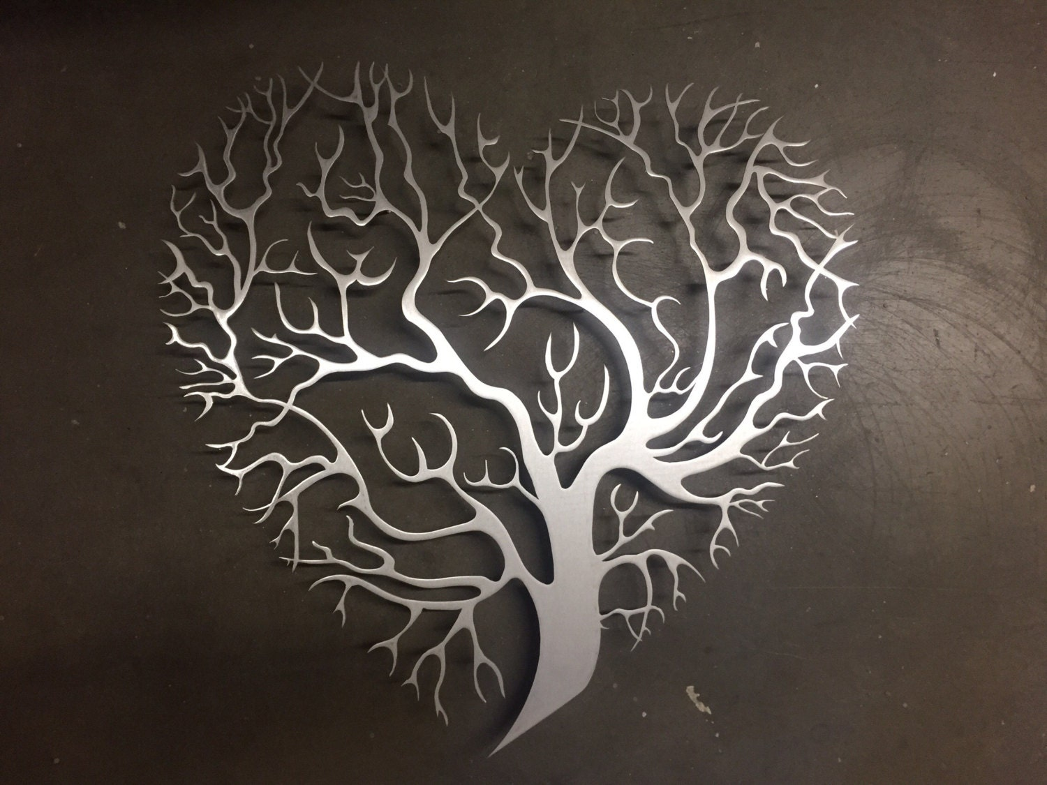 Joy metal wall decor : Tree heart metal wall art unique