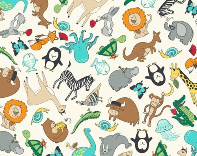 Half Yard Animal ABCs - Tossed Animals in Multi - Cotton Quilt Fabric - by Whistler Studios for Windham Fabrics - 41323-X (W3584)