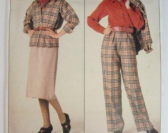 Vogue 0995 Sewing Pattern Misses Jacket Skirt Pants & Blouse Sizes 8 - 12 Uncut