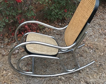 MCM Chrome and cane rocking chair