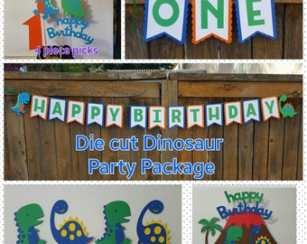 DINOSAUR PARTY PACKAGE Banner, cupcake toppers, centerpiece picks, cake topper, high chair banner dinomite Dino mite first birthday