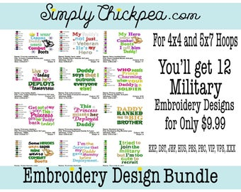 Embroidery Designs - Military Bundle I - Military Sayings - Hero - Deployment - Army - Perfect for Shirts - For 4x4 and 5x7 Hoops