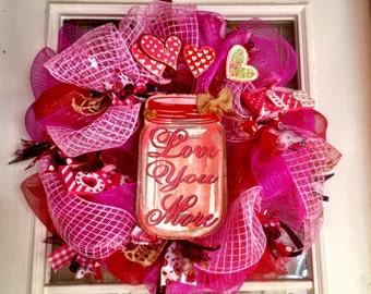 Valentine's Day Wreath-Mason Jar Wreath-Love You More Wreath-Valentine Wreath In Pink And Red-Love You More Wreath-Mason Jar Door Hanger
