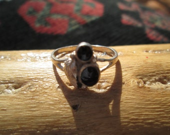 Native American Black Onyx and Sterling Feather Ring Size 9.5