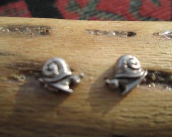 Tiny Sterling Silver Snail Stud Earrings