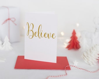 Believe Greeting Card - Foil Christmas Card - Christmas Greeting Card - Foil Holiday Card - Holiday Greeting Card - Blank Christmas Card