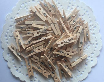 Natural Tiny Clothespins 1 inch Qty 100 Chic Rustic Wood Craft Wooden Clothespin Baby Shower Boys Girls Wedding Decor Gift Wrap