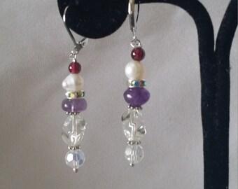 Stunning Silver Plated Garnet Amethyst Quartz Earrings*******.