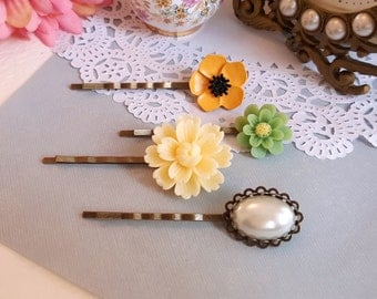 Set of 4 yellow and green floral bobby hair pin resin flowers ceremic clay flower pearl hair pins