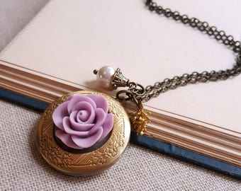 Antique inspired locket pendant necklace Lavendar rose mother of pearl necklace Mother's day gift