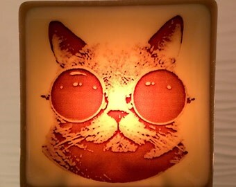 Steampunk Cat Night Light Fused Glass