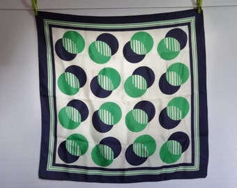 "Vintage Scarf Geometric Blue White Green 74cm x 73cm / 29.1"" x 28.7"""