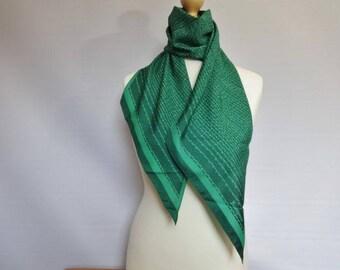 "Vintage Jacqmar Green Scarf 20cm x 152cm 7.8"" x 59.8"""