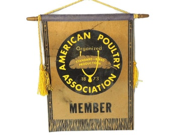 Old American Poultry Association Banner Sign c1920 APA Farming