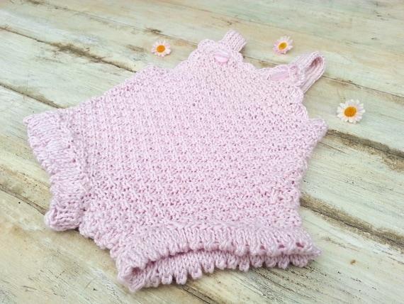 Knitting Pattern Baby Girl Jumper : KNITTING PATTERN, Baby Girl Romper, Knit Romper, Onsie, Retro Look Romper, Ov...
