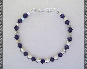 Swarovski bracelet, purple bracelet, dark purple bracelet, crystal bracelet