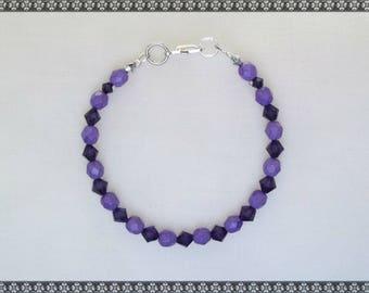 purple bracelet, dark purple, Swarovski, Swarovski bracelet, crystal bracelet, purple