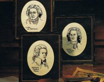 CROSS STITCH - Classical Music Composers Cross Stitch Chart - Classical Music - Mozart Portrait - Bach Portrait - Beethoven Portrait