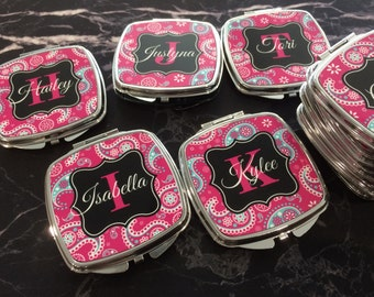 Personalized  Compact Mirrors  - Bachelorette Party Gifts - Monogrammed Compact Mirror, Personalized Bridesmaid Gift, Monogram Gifts