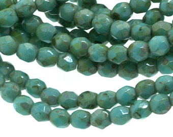 3mm Firepolish Opaque Turquoise Picasso, Czech Glass Faceted Round Firepolished Beads x 50