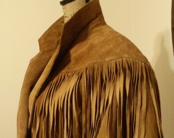 Vintage Wilsons Leather Fringe Cropped Jacket