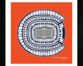 Sports Authority Field at Mile High, Denver Broncos, Stadium, Seating Art Print, Football Gift, SDENF1616