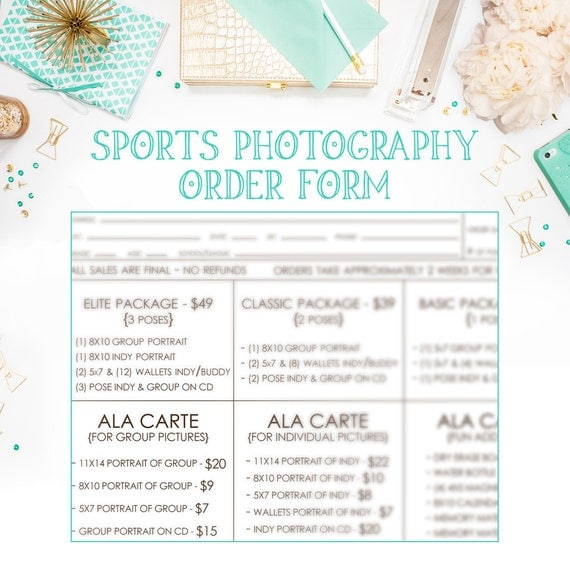 School Or League Sports Photography Order Form Available For