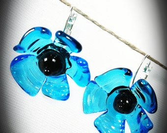 Poppies blue glass hand made earrings