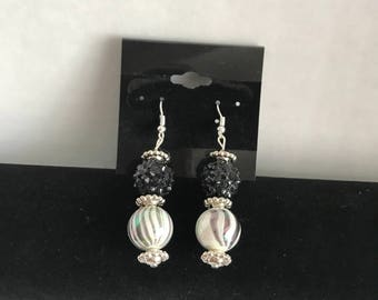 Black and Silver Ball Earrings