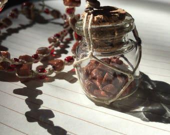 Bottle Necklace / Fairy Dust Necklace  / Beaded Hemp Necklace
